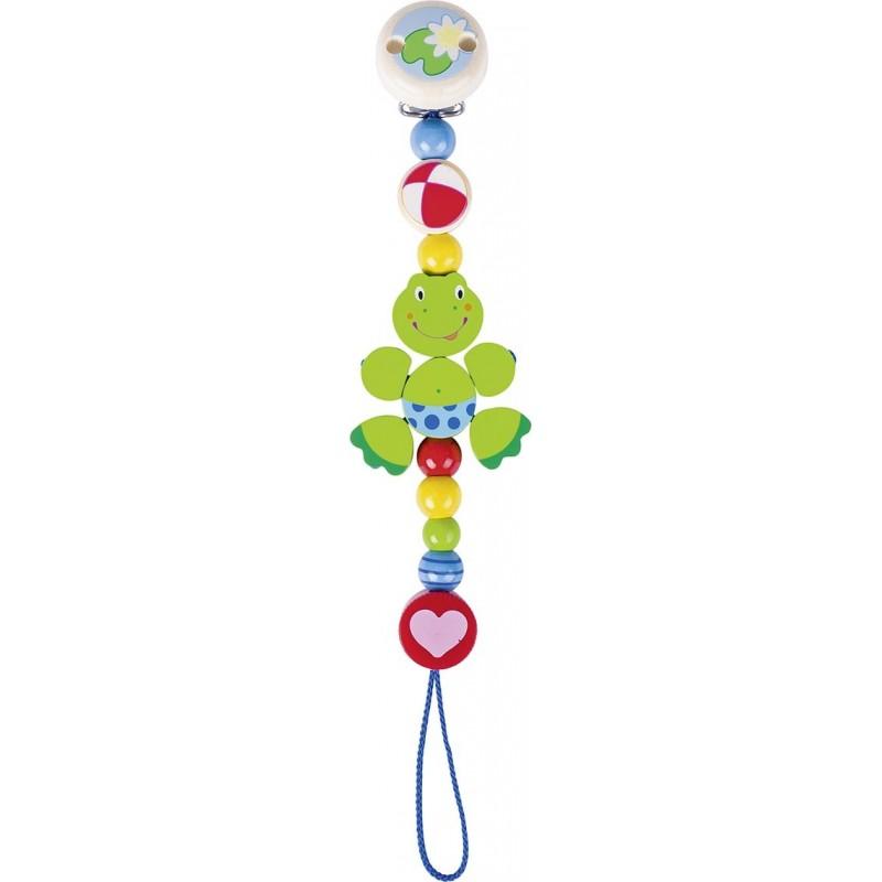 Accroche tétine en bois grenouille Goki Heimess| Bambin Bois, jeux et jouets en bois